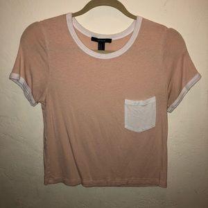 Light Orange Cream T-Shirt W/ White Front Pocket